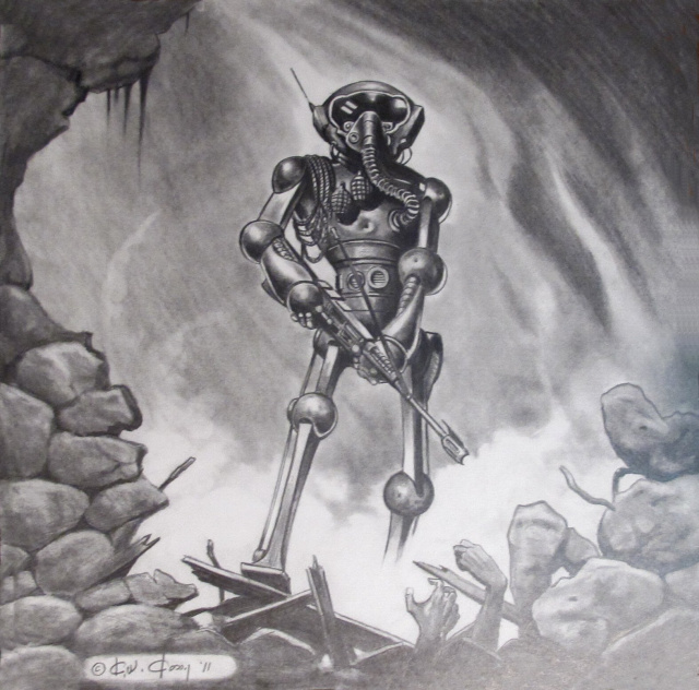 CREEPY  ROBOT COVER PENCIL ART